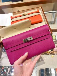 ✨剛6月法國買入! 💗Kelly Wallet Rose Pourpre L3 桃紫色 Epsom phw銀扣 C年 $25500