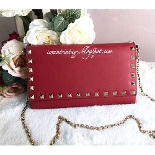 Valentino Rockstud Wallet On Chain-Red