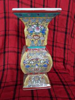 Qing Era famille rise vase with flowers . 32cm high
