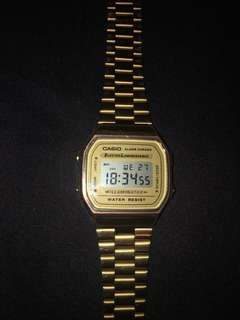 Gold casio men's watch