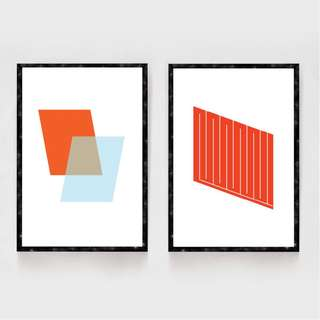 Wall Art Frame Home Decor Geometric Design Set of 2 Minimal