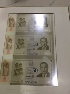 Singapore SG50 $50 uncut notes