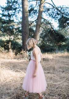 Tea Length Tulle Skirt in Nude Pink for Rent/ Sale