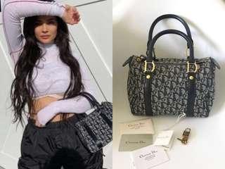 💯真品 很新帶鎖匙 Auth Christian Dior rare Boston bag 復古經典老花手挽袋 Kylie Jenner 同款