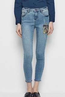 GARAGE Floral Embroidered Light Blue Long Skinny Jeans