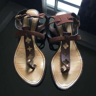 Louis Vuitton Suede Leather Sandals Size 36