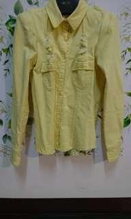 🚚 鮮黃墊肩襯衫