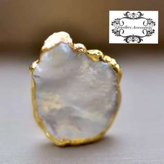 Handmade Gold Freeform Irregular Genuine Keshi Pearl Adjustable Ring - E 人手製黃金不規則真Keshi珍珠可調較戒指 介子 介指 戒子 - E