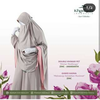 Gamis hasna zinc mix double khimar pet zinc amaranth by khadijah