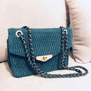 Vintage miu miu style lovely navy blue chain bag from ck