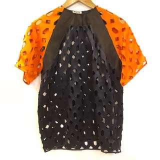 Miu miu orange and navy see through top tee size 38