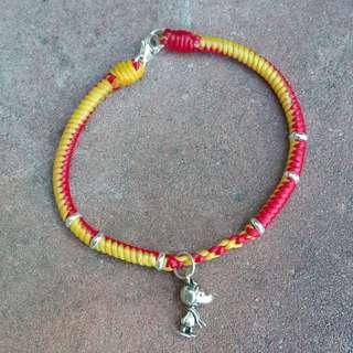 🚚 史努比銀飾蠟線編織手鏈