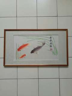 Chinese hand silk carps fish with frame size 60x35cm perfect condition