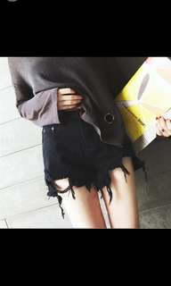 Maternity ripped shorts in black