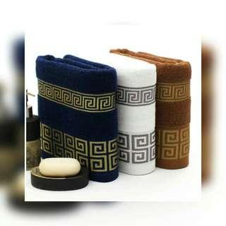 100% Cotton Bath Towel 72cm x 34cm (Blue/Brown/White)