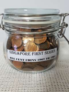 SINGAPORE 1ST SERIES ONE CENT COINS.   STORED IN AIR TIGHT GLASS CONTAINER.   A TREASURE FOR FUTURE GENERATIONS.   NET WEIGHT APPROXIMATELY 2.1 KILOGRAMS.   1200 PIECES.