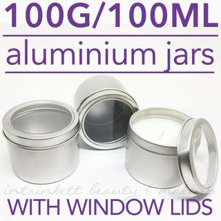 100G/100ML Aluminium Window Lidded Jar Empty Containers DIY Candle Bath Scrub | Sold in packs of 3