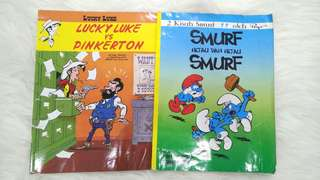 Buku Cerita  Smurf dan Lucky Luke vs Pinkerton