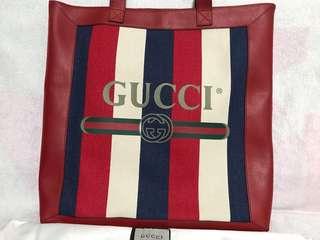 Gucci 全新 真皮 紅白藍 Tote bag (2018款)