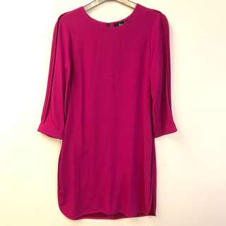 斯文裙 Freda purple red silk dress size 6