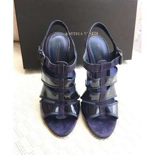 Bottega Veneta BV    suede leather/plastic heel sandals shoes    *** Size 37  Made in Italy ***