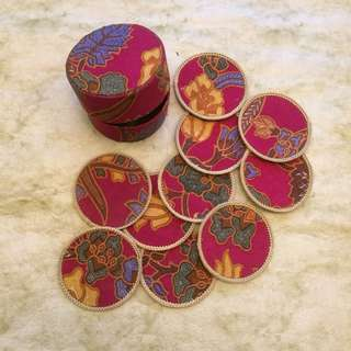 🆕 Batik coasters (10pcs) set with box