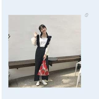 自製背帶可拆兩穿波點背帶褲長褲女韓國