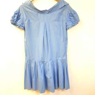 藍色連身裙 Miu Miu shoulder off blue dress size 40