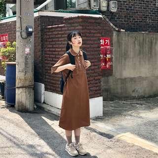 自留這個長度炒顯瘦遮肉肉明線小日系連衣裙(2色)