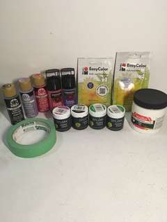 Selection of fabric paint, acrylic paint and fabric dyes