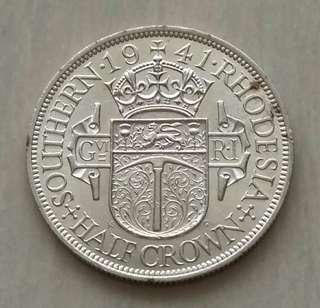 Southern Rhodesia 1941 1/2 Crown Silver Coin With Good Details And Luster