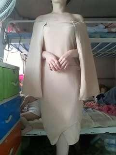 Nude cream off shoulder formal dress
