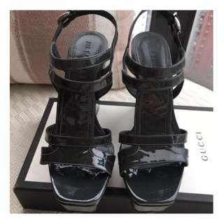 JIL SANDER  patent leather platform wedge sandals shoes  @ Made in Italy  Size 37 @