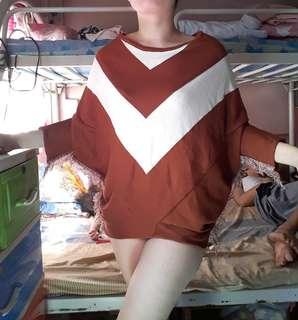 Nude striped loose sweater top