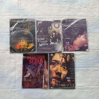 KASET DVD FILM HORROR INDONESIA + THRILLER LAWANG SEWU LEWAT TENGAH MALAM ENAM PENGABDI SETAN MIRACLE AND THRILLER MURAH PRELOVED
