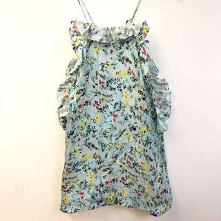 花花背心裙 MSGM flowers light blue dress size 38