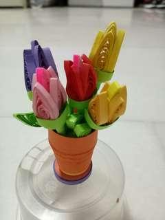 Handmake quilling tulip flower