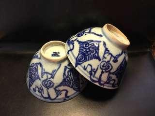 聽雨樓:#QQH-0099:【清】清中期青花纏枝大茶碗一對 #1