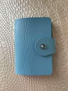 質感👍天空藍皮革信用卡卡片卡夾收納本