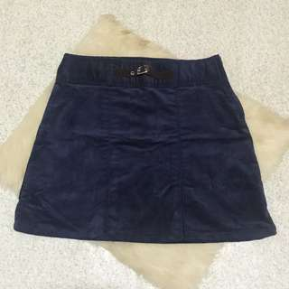 Navy Blue Jean Skirt w/ Velvet cloth
