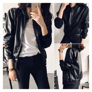 Pu black  Leather Jacket