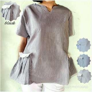Blus katun salur Maruko baju pakaian wanita