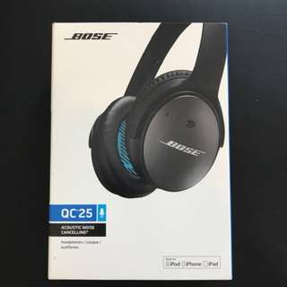 Brand new Bose Noise cancelling QC25. (Sealed) with Android & Apple cable.