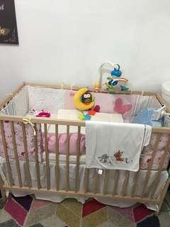 Ikea baby cot (cot skirt, bumper & mattress)