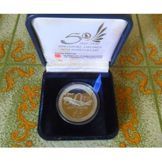 1997 50th Anniversary of Singapore Airlines $5 Silver Proof Coin.