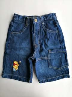 PRELOVED DISNEY Winnie The Pooh Cotton Jeans Short Pants - in excellent condition
