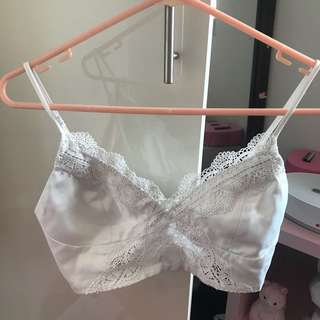 Bardot White Lace Crop