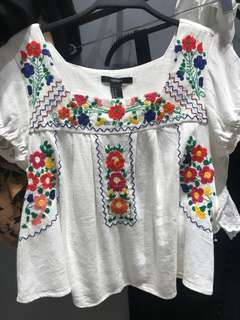 Forever 21 Embroidered Boho Top