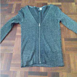 H&M Silver Top/Mini Jacket