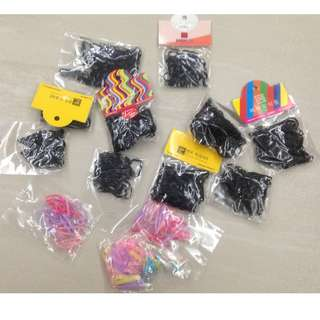 Kids Girls Hair Elastics Rubber Bands Ponytail Holder  Black and Candy Color